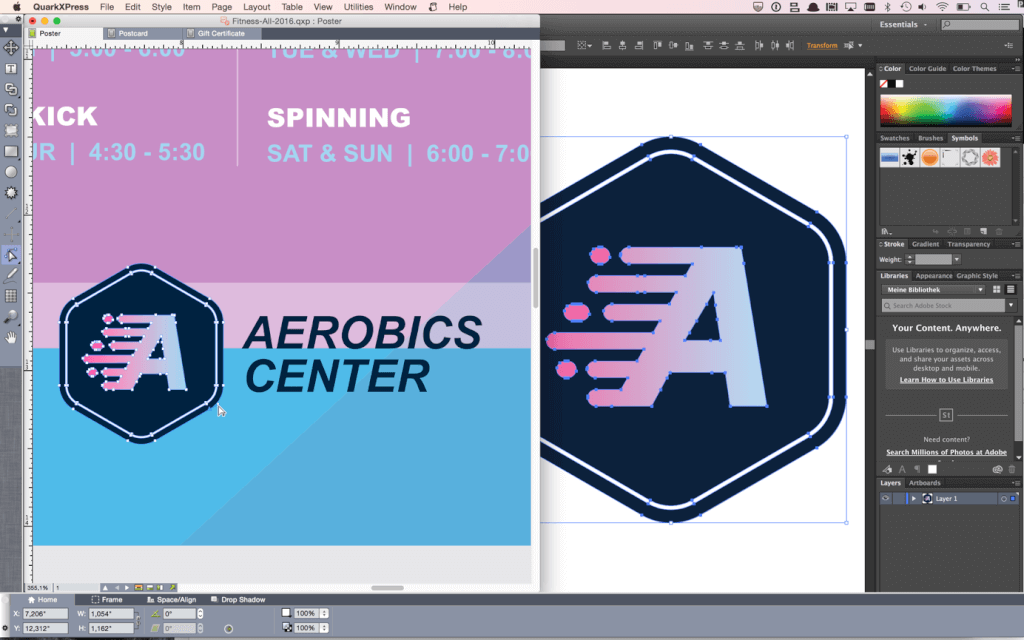 Adobe Illustrator Logo als Bézierkurven in QuarkXPress 2016 umgewandelt.