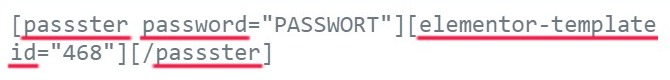 "Der Shortcode: [passster password=""PASSWORT""][elementor-template id=""468""][/passster]"