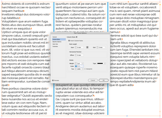Spaltenlinien InDesign 2020