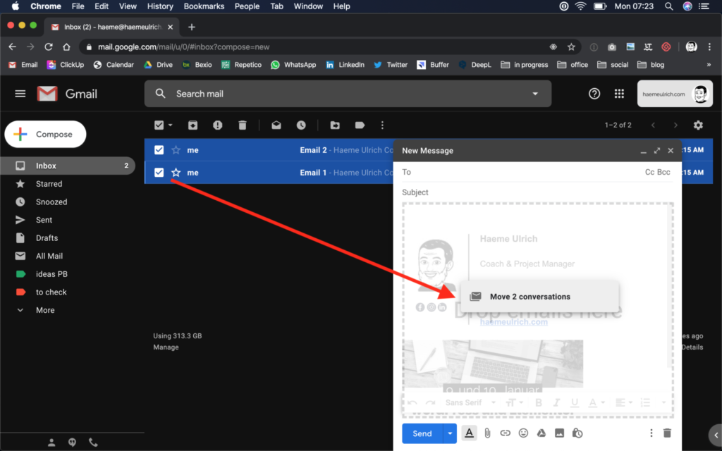 Gmail –Emails als Attachments