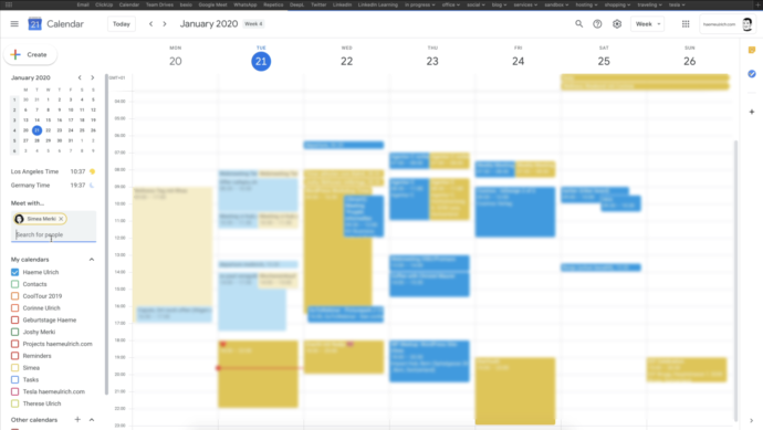 Google Calendar show Co-Worker
