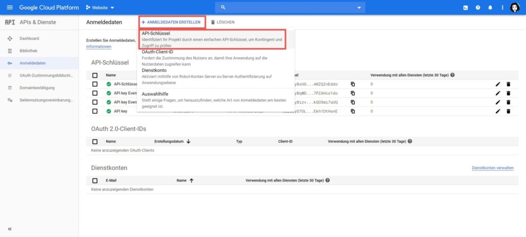 Screenshot aus der Google Cloud Plattform, API Key Erstellungsdialog (Screenshot).