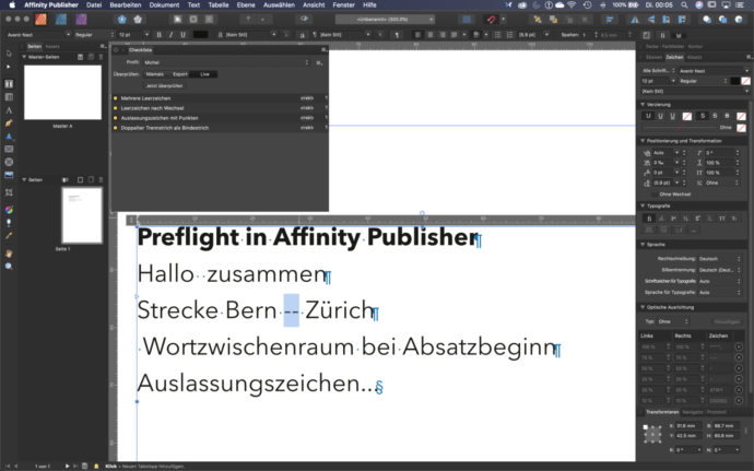 Preflight in Affinitty Publisher